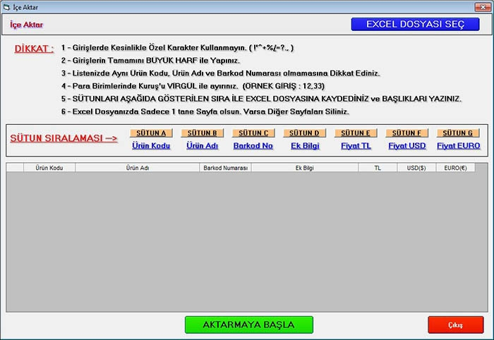 İçe Aktar (Excel Import)
